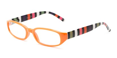 Angle of The Dory in Orange/Stripe, Women's Rectangle Reading Glasses
