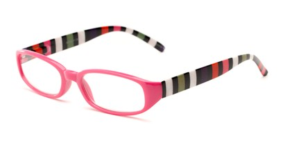 Angle of The Dory in Pink/Stripe, Women's Rectangle Reading Glasses