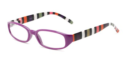 Angle of The Dory in Purple/Stripe, Women's Rectangle Reading Glasses