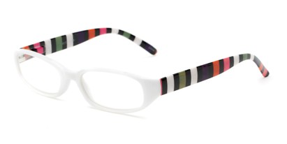 Angle of The Dory in White/Stripe, Women's Rectangle Reading Glasses