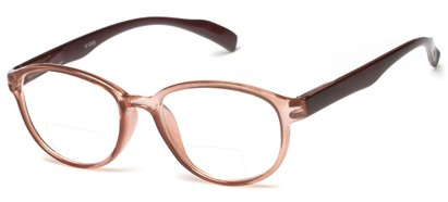 Angle of The Lucky Bifocal in Brown/Black, Women's and Men's Round Reading Glasses
