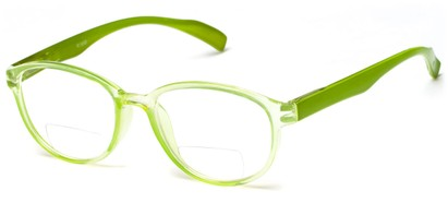 Angle of The Lucky Bifocal in Green, Women's and Men's Round Reading Glasses