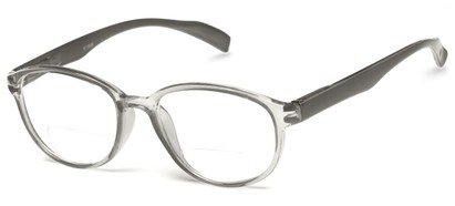 Angle of The Lucky Bifocal in Grey, Women's and Men's Round Reading Glasses