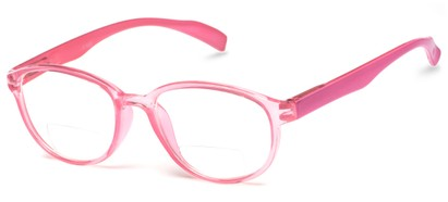 Angle of The Lucky Bifocal in Pink, Women's and Men's Round Reading Glasses