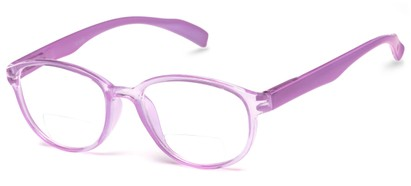Angle of The Lucky Bifocal in Purple, Women's and Men's Round Reading Glasses