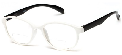 Angle of The Lucky Bifocal in White/Black, Women's and Men's Round Reading Glasses