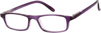 Angle of The Corey in Purple, Women's and Men's Rectangle Reading Glasses