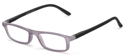 Angle of The Sylvia in Grey/Black, Women's and Men's Rectangle Reading Glasses