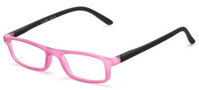 Angle of The Sylvia in Pink/Black, Women's and Men's Rectangle Reading Glasses