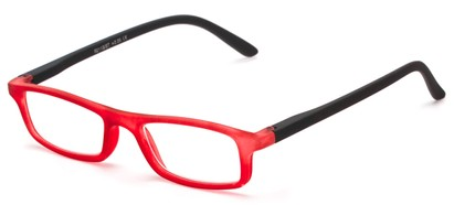 Angle of The Sylvia in Red/Black, Women's and Men's Rectangle Reading Glasses