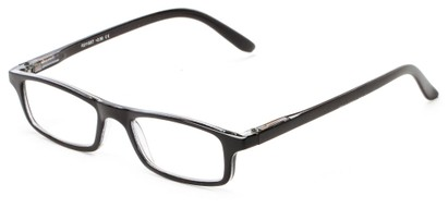 Angle of The Sylvia in Black, Women's and Men's Rectangle Reading Glasses