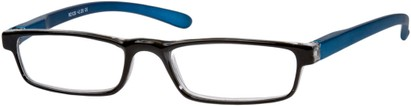 Angle of The Duvall in Black/Blue, Women's and Men's Rectangle Reading Glasses