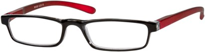 Angle of The Duvall in Black/Red, Women's and Men's Rectangle Reading Glasses