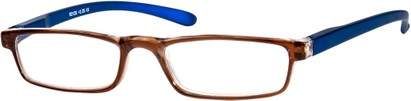 Angle of The Duvall in Brown Blue, Women's and Men's Rectangle Reading Glasses