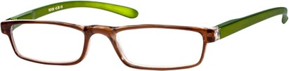 Angle of The Duvall in Brown/Green, Women's and Men's Rectangle Reading Glasses