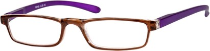 Angle of The Duvall in Brown/Purple, Women's and Men's Rectangle Reading Glasses