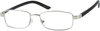 Angle of The Nashville in Silver/Black, Women's and Men's Rectangle Reading Glasses