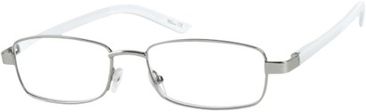 Angle of The Nashville in Silver/White, Women's and Men's Rectangle Reading Glasses