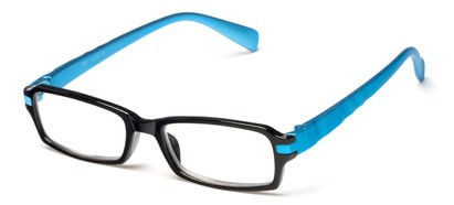 Angle of The Hamlet in Black/Blue, Women's and Men's Rectangle Reading Glasses