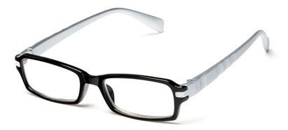 Angle of The Hamlet in Black/Silver, Women's and Men's Rectangle Reading Glasses