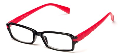 Angle of The Hamlet in Black/Red, Women's and Men's Rectangle Reading Glasses