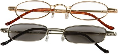 Angle of The Twin Cities Reader Set in Gold Reader/Silver Sun Reader, Women's and Men's