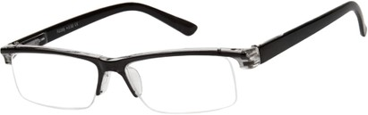 Angle of The Gershwin in Black/Clear, Women's and Men's Rectangle Reading Glasses