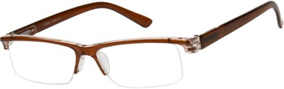 Angle of The Gershwin in Brown/Clear, Women's and Men's Rectangle Reading Glasses