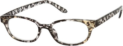 Angle of The Seymour in Black/Clear Leopard, Women's Cat Eye Reading Glasses