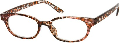 Angle of The Seymour in Pink/Brown Leopard, Women's Cat Eye Reading Glasses