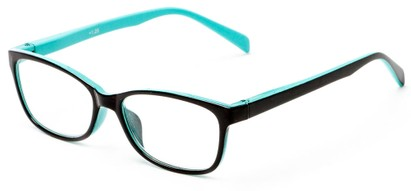 Angle of The Aurora in Black/Teal, Women's and Men's Rectangle Reading Glasses