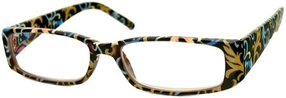 Angle of The Stacey in Black Multi Leaves, Women's Rectangle Reading Glasses