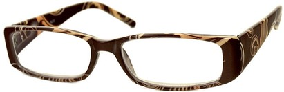 Angle of The Stacey in Brown/Tan Scrolls, Women's Rectangle Reading Glasses