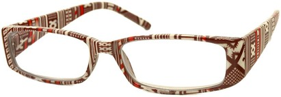 Angle of The Stacey in Brown/Tan Southwest, Women's Rectangle Reading Glasses