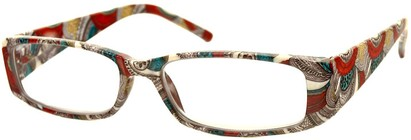 Angle of The Stacey in Tan/Red Paisley, Women's Rectangle Reading Glasses