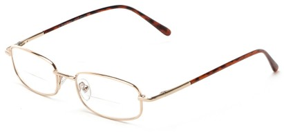 Angle of The Springfield Bifocal in Gold, Women's and Men's Rectangle Reading Glasses