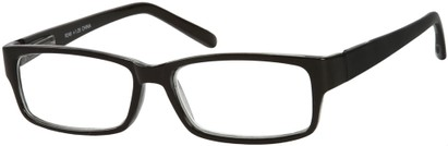 Angle of The Bilson in Black/Clear, Women's and Men's Rectangle Reading Glasses