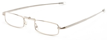Angle of The Ellis Folding Reader in Silver, Women's and Men's Rectangle Reading Glasses