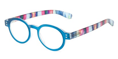 Angle of The Ari in Blue with Stripes, Women's Round Reading Glasses