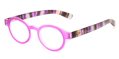 Angle of The Ari in Pink with Stripes, Women's Round Reading Glasses