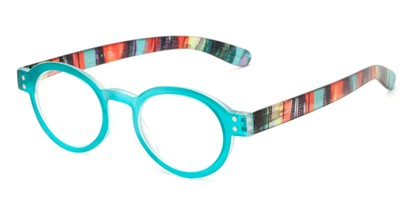 Angle of The Ari in Teal Green with Stripes, Women's Round Reading Glasses
