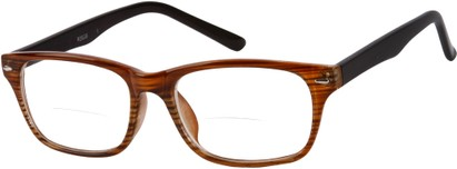 Angle of The Williamsburg Bifocal in Red Stripe, Women's and Men's Retro Square Reading Glasses