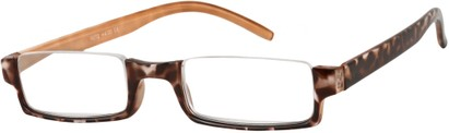 Angle of The Barlow in Orange Tortoise, Women's Rectangle Reading Glasses