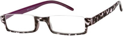Angle of The Barlow in Purple Tortoise, Women's Rectangle Reading Glasses