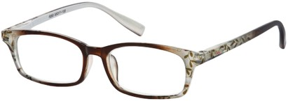 Angle of The Maria in Brown Floral, Women's Rectangle Reading Glasses