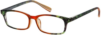 Angle of The Maria in Orange Floral, Women's Rectangle Reading Glasses