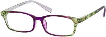 Angle of The Maria in Purple Floral, Women's Rectangle Reading Glasses