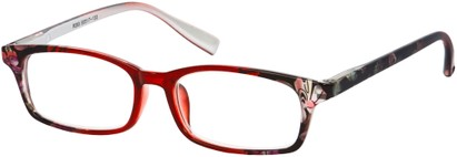 Angle of The Maria in Red Floral, Women's Rectangle Reading Glasses