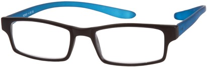 Angle of The Macintosh Hanging Reader in Black/Blue, Women's and Men's Rectangle Reading Glasses