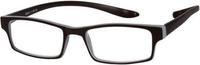 Angle of The Macintosh Hanging Reader in Black with Grey, Women's and Men's Rectangle Reading Glasses